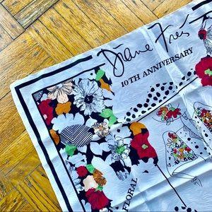 Diane Freis White silk scarf 10 year anniversary